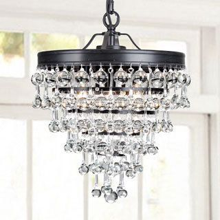 Bathroom Chandeliers Black claudia 3-light crystal glass drop chandelier in antique black