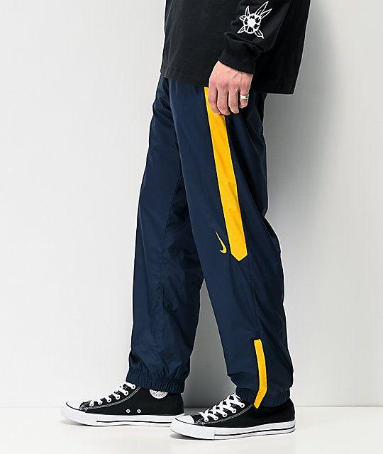 Brand New Mens Nike SB Shield Swoosh Skate Track Pants Obsidian Dark Sulfur