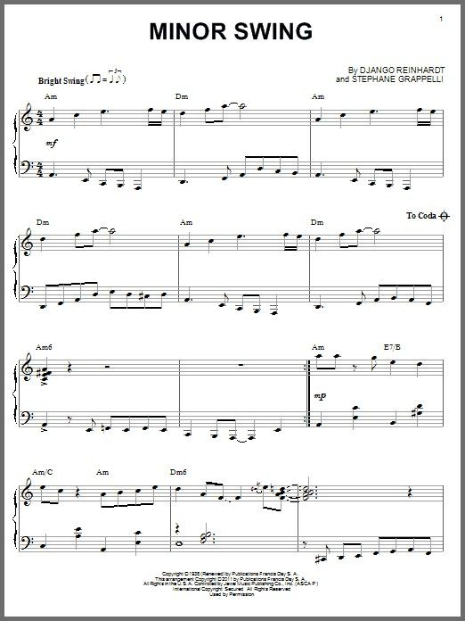 Minor Swing Sheet Music Minorswingbydjangoreinhardt