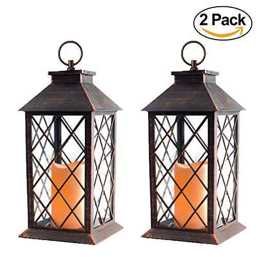 Evermore Light 14 Tall Copper Brashed Plastic Candle Lantern With 4 Hours Timer 3 Aaa Batteries Inclulded Hanging Light For Indoor Outdoor Using Decorative C Lantern Candle Decor Outdoor Hanging Lanterns Candle Lanterns