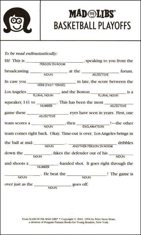 Printable Worksheets High School Basketball : Free printable mad libs for kids google search
