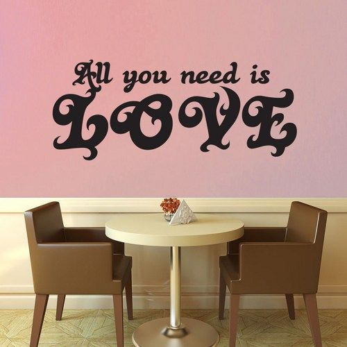 All You Need is Love Wall Decal No 5 - Extra Large | GeekeryMade - Housewares on ArtFire