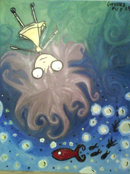 Niña cabellos de pulpo mirando hacia la otra la otra dimensión del mar.