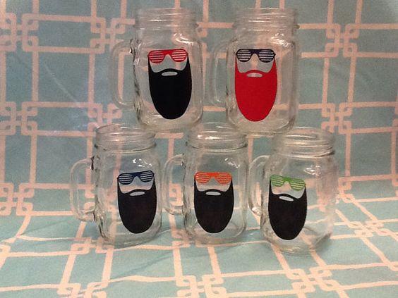 Goatee Glass Mason Jar Style with handle by BBandGifts on Etsy, $10.00