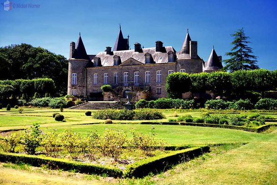 Gardens and the Castle Kergrist at Ploubezre, Brittany