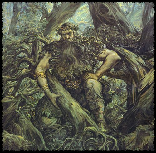 Tapio is an East Finnish forest spirit or god, who figured prominently in the Kalevala. Hunters prayed to him before a hunt.  His wife is the goddess of the forest, Mielikki. He was the father of Annikki, Tellervo, Nyyrikki (the god of hunting), and Tuulikki.  Fitting the Green Man archetype, Tapio has a beard of lichen and eyebrows of moss.: