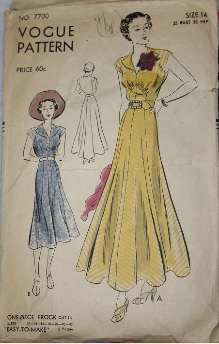 1930s Vogue Pattern One-Piece Frock. #dress
