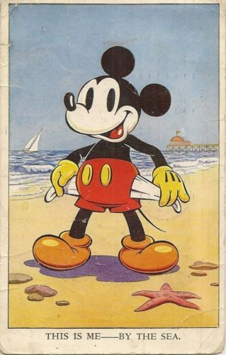 Vintage Mickey Mouse card .