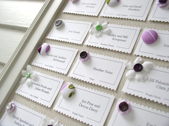 Framed Plum Purple and Green Wedding Reception Escort Card Display - Magnet Board Package - Handmade Frame, Fabric, Placecards, and Magnets via Etsy