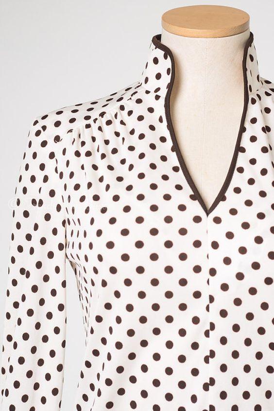 Vintage Polka Dot Top Vintage Brown top by TrendyHipBuysVintage