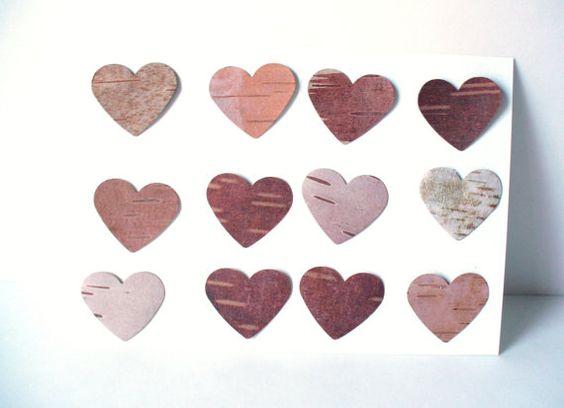 Birch Bark Heart Card MakingRustic Wedding by jadenrainspired, $4.00