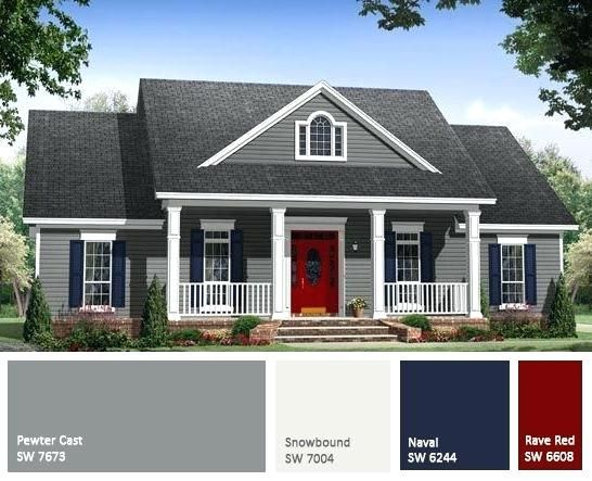 Gray House White Trim Blue Shutters Red Door Gray Exterior House Painting Color Trend With Images Gray House Exterior House Paint Exterior Exterior Paint Colors For House