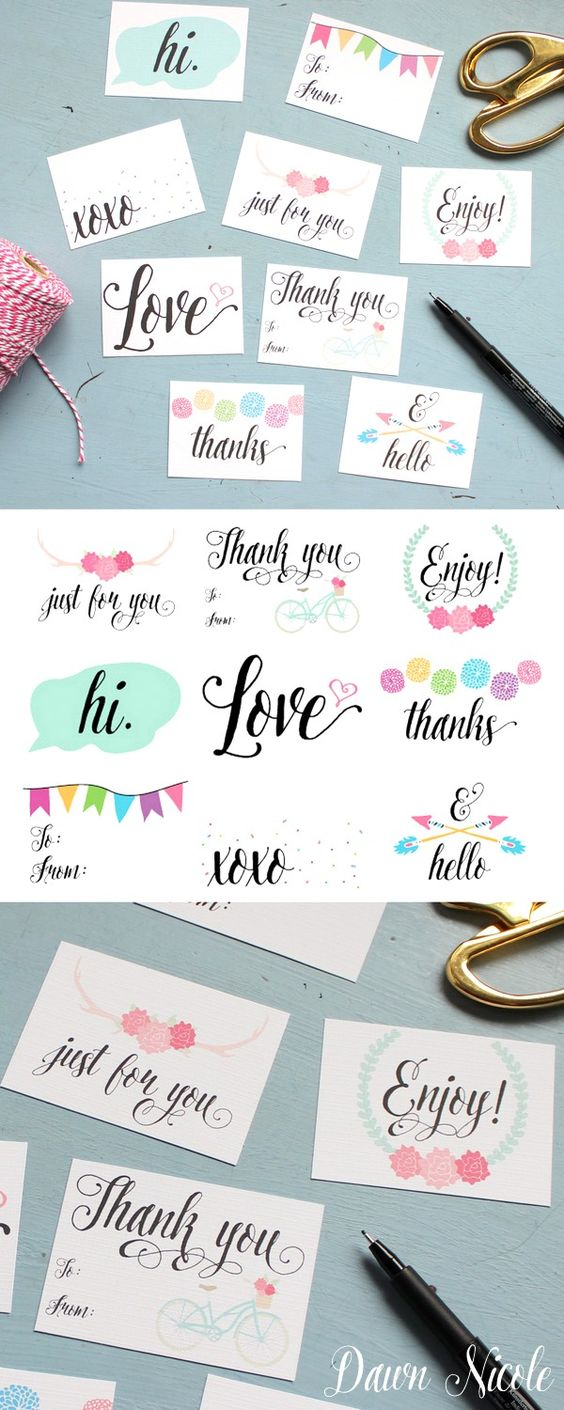 Free Printable Everyday Gift Tags | bydawnnicole.com