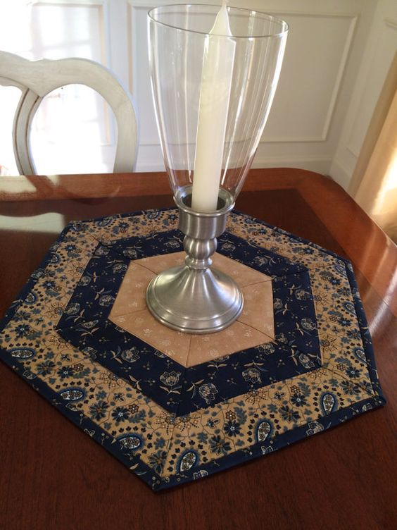 Quilted Blue Amp Beige Hexagon Table Topper Or Candle Mat