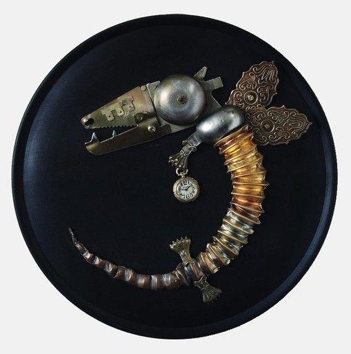 """""""Stolen time""""  34 cm. metal art, artist: Vladimiras Nikonovovas"""