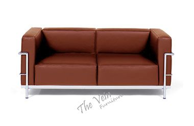 Le Corbusier LC3 Grand Confort (2 Seater)  Designed by Le Corbusier in 1929, our REPLICA Grand Confort 2 Seater is manufactured without compromise in material or workmanship.  Colour Black White Red Brown Cream  Surface PU (eco-leather) Leather Itatlian Leather