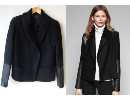 THEORY Ponette Jacket Coat Leather Sleeves NWT $495 P S helmut ...