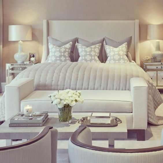 Bedroom Decor Ideas Hotel Transitional Style Upholstered Headboard With Seating Area