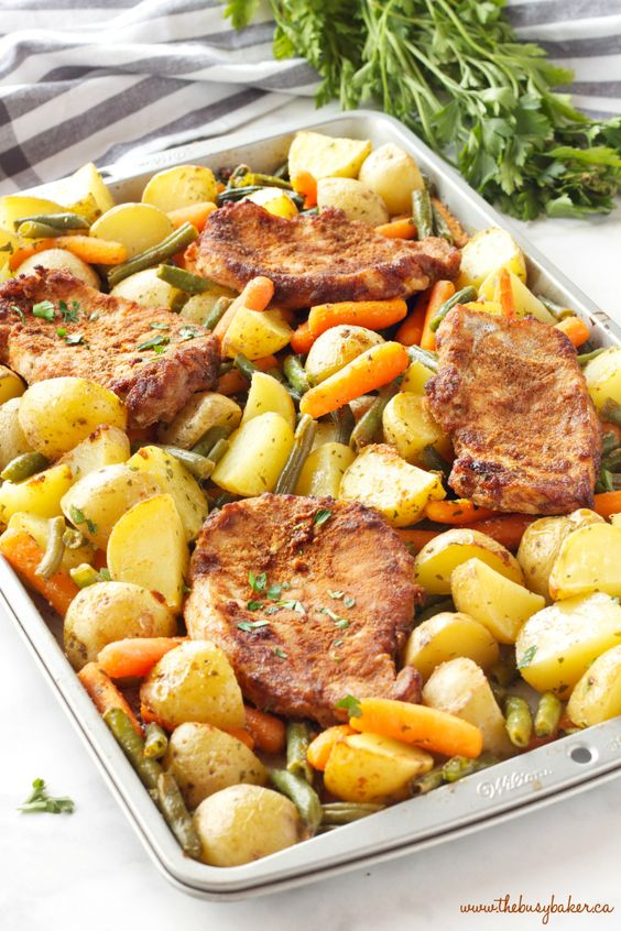 Easy Pork Chop Sheet Pan Dinner