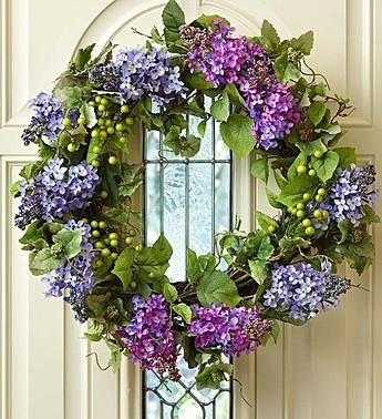 "Faux Lilac Wreath - 24"" from 1-800-FLOWERS.COM"