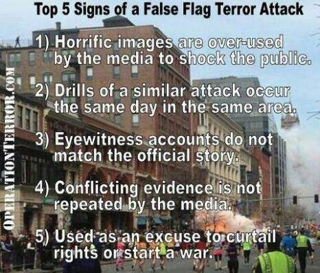 Top 5 Signs of a False Flag Terror Attack - these are spot on. Please repin until people's eyes are opened.:
