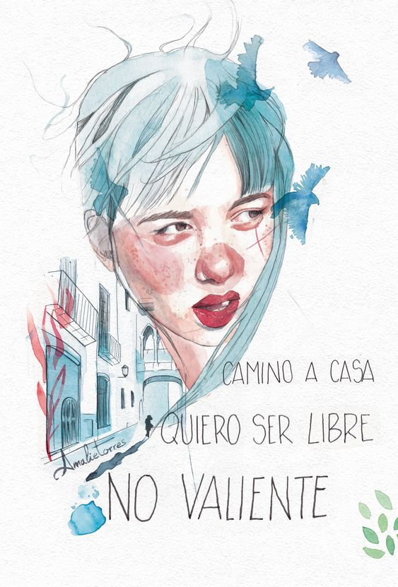 #ilustracion #feminismo #peloazul #illustration #watercolor #watercolorportrait #acuarela