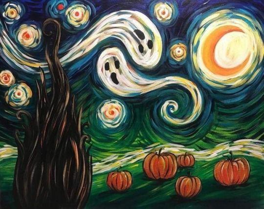 Mischief Night Halloween Painting Starry Night Van Gogh Halloween Art