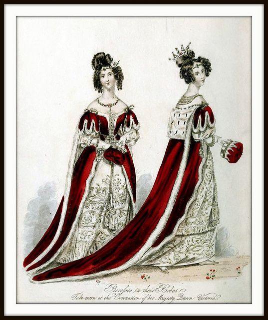 Roben von verschiedenen Prinzessinnen zur Krönung von Victoria, 1838