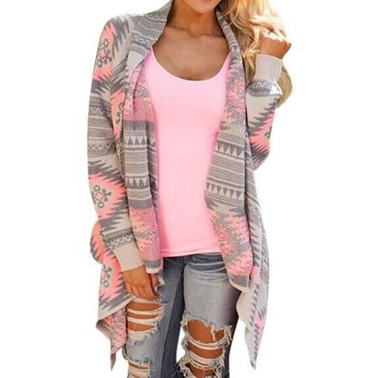 Women Cardigan Long Sleeve Knitted Poncho Sweater Coat Tribal Print Asymmetrical