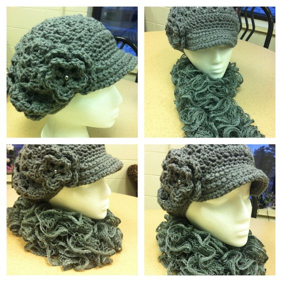 Knitting Patterns For Girls Cardigans : Hat with matching curly scarf made outta Red Heart Sashay yarn Set It Up ...