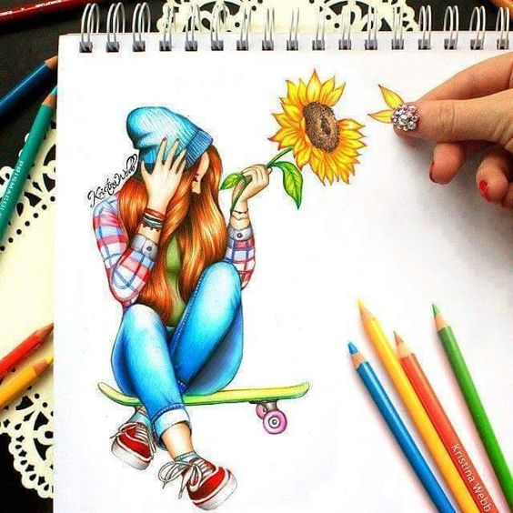 Imagem de drawing, girl, and flowers