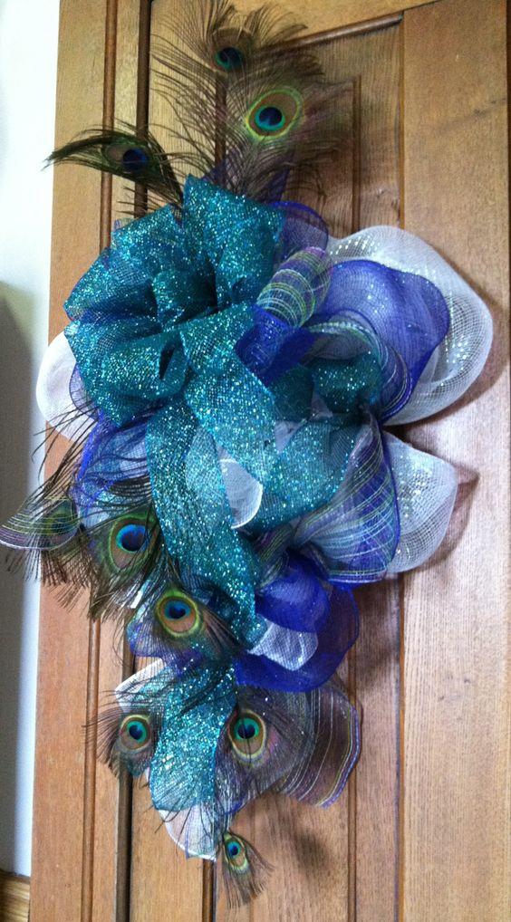 Peacock, deco mesh wreath or wall teardrop arrangement.