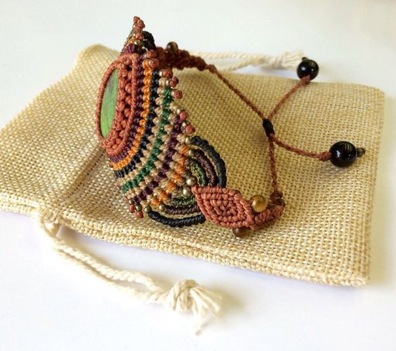 Handmade Macrame Bracelet With Chrysocolla - Tiger Eye - Obsidian - Brass (With…