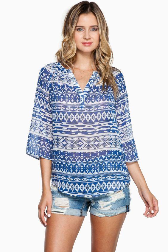 Tribal Instincts Blouse / Shop Sosie #blouse #tribal #print #semisheer #modern #mandarin #collar