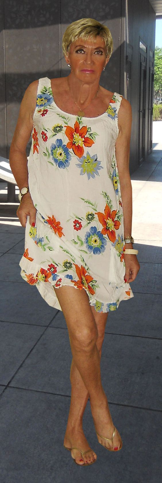 flowered summer dress, golden flip flops