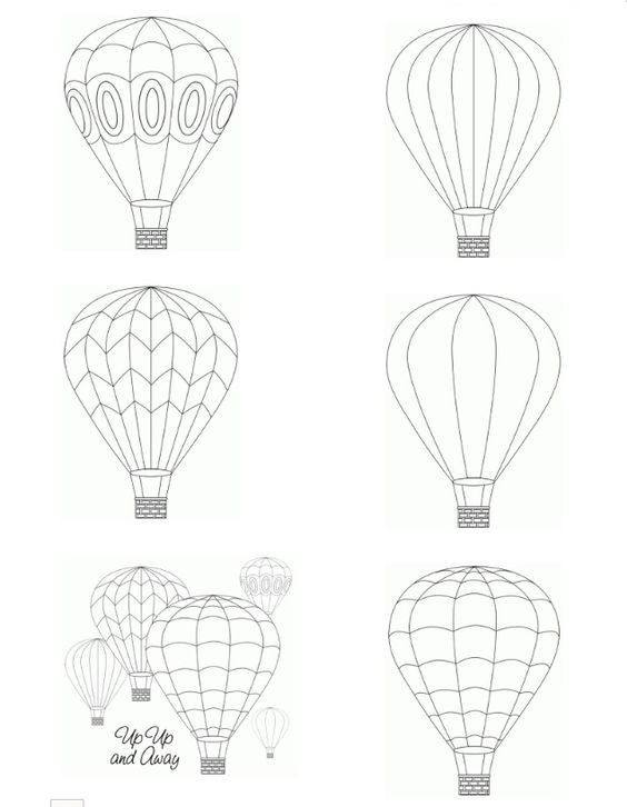 Hot air balloon printable digital images from Birds Cards -- http://www.birdscards.com/?p=736