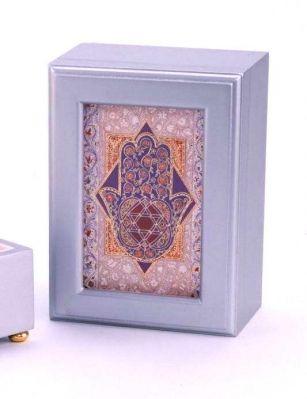 "Hamsa Music Jewelry Box  Perfect For Any Lady, Young Or Old, This Hamsa Musical Jewelry Box Has A Floral Designed Hamsa On Its Cover. The Hamsa Musical Jewelry Box Measures 6"" X 8"" X 3""."