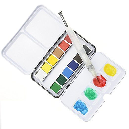 Watercolor Paint Set With 12 Half Pan Colors Pocket Travel Box