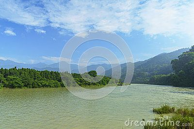 River mountain landscape with blue sky background at yulei mount park , dujiangyan, China .