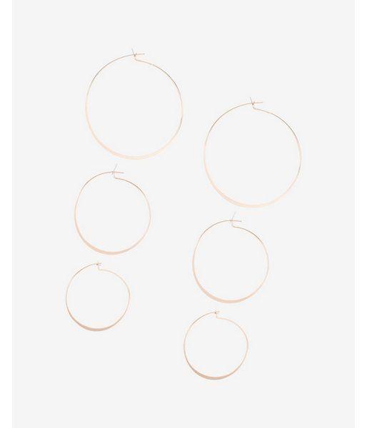 Set Of Three Flat Hoop Earrings Women's Gold