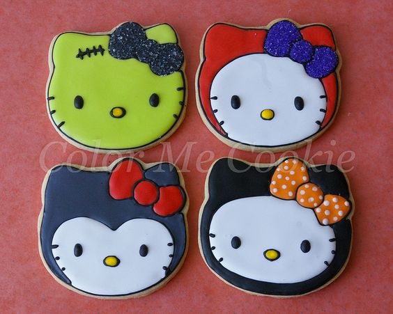 halloween hello kitty cookies ~ by color me cookie