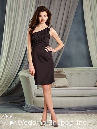 Alfred Angelo 7379S: A short satin one-shoulder bridesmaid dress.