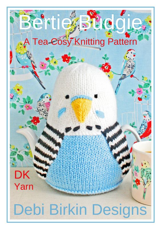 BUDGIE budgerigar tea cosy knitting pattern teacozy cozy cosies PDF email