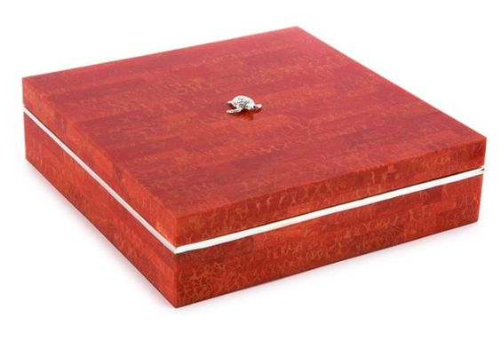 """10"""" Shell Box w/ Sterling Accent, Coral"""