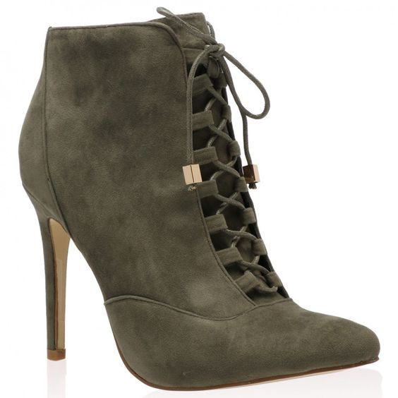 Mariana Heeled Ankle Boots in Khaki Faux Suede