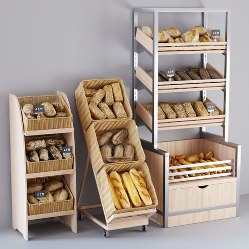 Bread Display Racks 3d Model Bread Display Shop Shelving Shelving