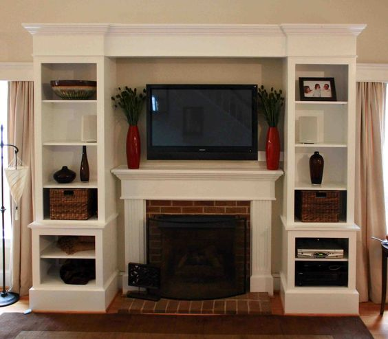 Foxy White Custom Built In Cabinets Fireplace Entertainment Center With Open