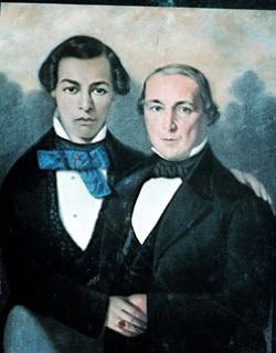 A portrait of Asher Moses Nathan and Son, pastel, c. 1845 by Free black man of color artist Jules Lion. This is the only portrait known in the 19th century of a white father