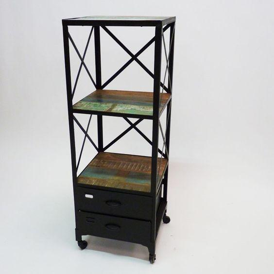 Meuble bibus de type loft industriel en m tal et bois for Meuble metal industriel loft