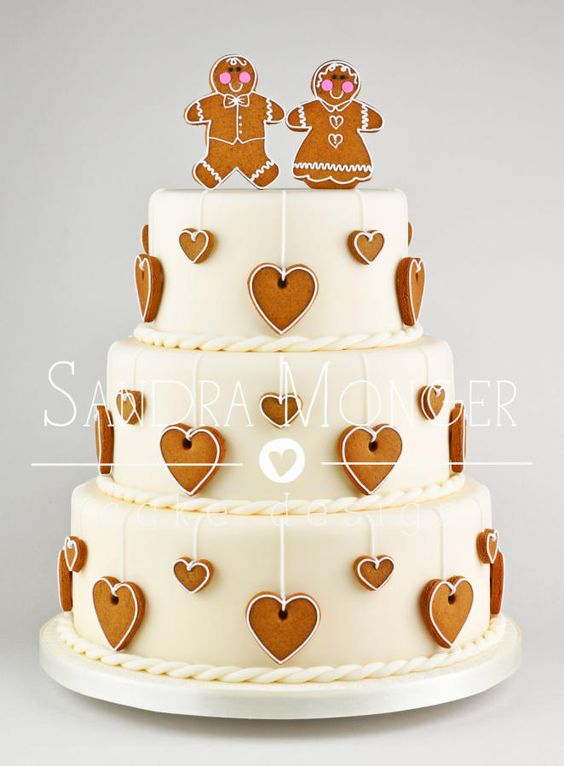 Gingerbread Wedding Cake - What a cute and unique idea for a Wedding cake! #wedding #cake #gingerbread - Check out http://www.thevanillavalley.co.uk for your cake decorating supplies